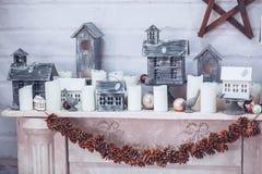 Dekorerad bakgrund för jul och för nytt år julen dekorerar nya home idéer för garnering till Royaltyfri Bild