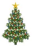 Dekorerad christmastree för jul Arkivbild