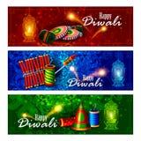 Dekorerad diya med smällaren för lycklig Diwali feriebakgrund vektor illustrationer