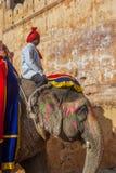 Dekorerad elefant på den bärnstensfärgade forten Royaltyfri Bild