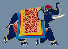 dekorerad elefantillustrationindier Royaltyfri Foto