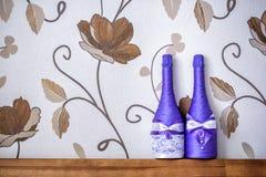 Dekorerad flaska av champagne Royaltyfri Foto