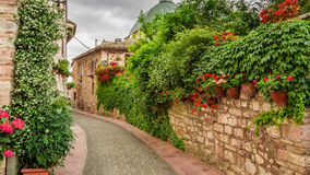 Dekorerad gata i liten stad i Italien Royaltyfri Foto