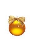 Dekorerad gul julboll Royaltyfri Foto
