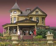dekorerad halloween husvictorian arkivfoto