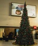 Dekorerad jul och lluminated central järnvägsstation Royaltyfria Foton