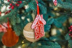 Dekorerad julgrancloseup Arkivfoto