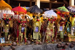 Dekorerad kista av det avlidet för ceremonikremeringen, Nusa Penida, Indonesien royaltyfria foton