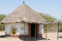 Dekorerad koja, Indien, Gujarat royaltyfria foton