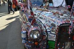 Dekorerad London taxitaxi Arkivfoton