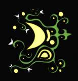 dekorerad moon stock illustrationer
