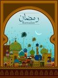 Dekorerad moské i Eid Mubarak Happy Eid Ramadan bakgrund Royaltyfri Fotografi