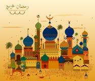 Dekorerad moské i Eid Mubarak Happy Eid Ramadan Kareem bakgrund Royaltyfri Bild