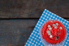 Dekorerad muffin med 4th det juli temat Royaltyfria Bilder