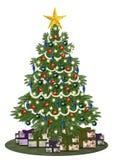 Dekorerad oldstyle christmastree med gåvor Royaltyfri Foto