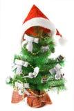 dekorerad päls för locket isolerade jul treen Arkivfoton