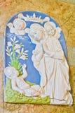 Dekorerad platta av modern och barnet Arkivfoto