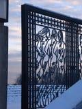 Dekorerad port med tre kvinnor Arkivfoto