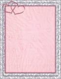 Dekorerad ram med -hjärtad rosa bakgrund stock illustrationer