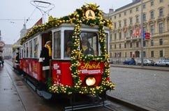 Dekorerad spårvagn, Wien Royaltyfri Bild
