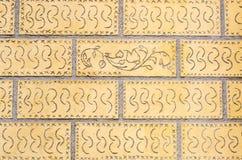 Dekorerad tegelstenvägg Royaltyfria Bilder