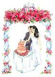 Dekorerade den bitande rosa bröllopstårtan för brudgummen och för bruden under gazebo med röda rosor och två kyssande duvor på öv Royaltyfri Foto