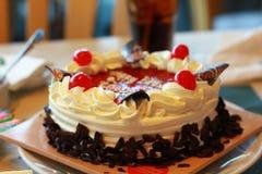 Dekorerade den körsbärsröda yoghurtkakan för vit choklad med nya frukter och chokladstora biten royaltyfri fotografi