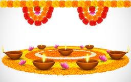 Dekorerade Diwali Diya på blomman Rangoli