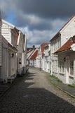 Dekorerade gator i den gamla staden i Stavanger, Norge Arkivbilder