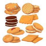 Dekorerade kakor i tecknad filmstil Stekhet illustrationisolat för vektor på vit royaltyfri illustrationer