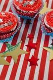 Dekorerade muffin med 4th det juli temat Fotografering för Bildbyråer