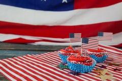Dekorerade muffin med 4th det juli temat Royaltyfri Bild
