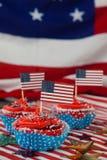 Dekorerade muffin med 4th det juli temat Royaltyfri Fotografi