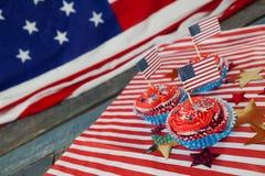 Dekorerade muffin med 4th det juli temat Arkivfoto