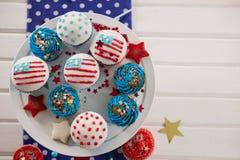 Dekorerade muffin med 4th det juli temat Arkivbild
