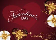 Dekorerade röd bakgrund för valentindagen askar med guld- pilbågar, bandet och hjärta Design för affischer, baner eller kort vekt stock illustrationer
