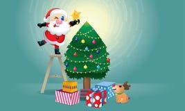 Dekorerar den gulliga jultomten och hans ren julgranen stock illustrationer