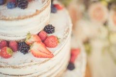 Dekorerat av den nakna kakan för bär, lantlig stil för bröllop, födelsedagar och händelser Arkivfoto
