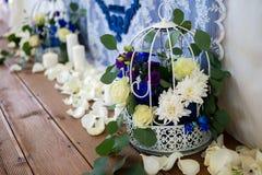 dekorerat bröllop för pärlarotabell Royaltyfri Foto