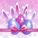 Dekorerat färgrikt kort för hälsning för symboler för ferie för äggkaninpåsk vektor illustrationer