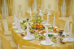 dekorerat matställetabellbröllop Arkivbilder