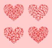 Dekorerat rött, rosa färger och den rosa hjärtamosaikvektorn ställde in
