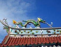 Dekorerat tempeltak i sydliga Taiwan Arkivfoto