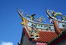 Dekorerat tempeltak i sydliga Taiwan Royaltyfri Fotografi