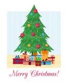 Dekorerat träd för Ð-¡ hristmas med gåvaaskar, ljus, garneringbollar och lampor lyckligt glatt nytt år för jul royaltyfri illustrationer