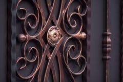 Dekorować wspaniałe żelazo bramy, ornamentacyjny skucie, fo obraz stock