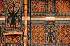 Dekorująca fasada tradycyjny dom w Taniec Toraja Obrazy Stock
