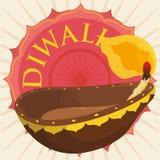 Dekorujący Diya nad Kwiecistą etykietką z Ashoka Chakra dla Diwali, Wektorowa ilustracja royalty ilustracja