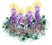 Dekorujący kwiecisty Adwentowy wianek z cztery nastanie świeczkami Zdjęcia Royalty Free
