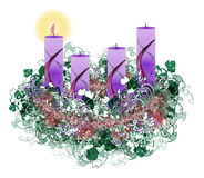 Dekorujący kwiecisty Adwentowy wianek z cztery nastanie świeczkami, illustr Fotografia Royalty Free